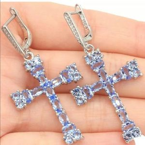 Iolite and CZ Cross Earrings New 925